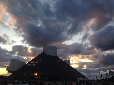 The exterior of The Rock and Roll Hall of Fame in Cleveland, Ohio