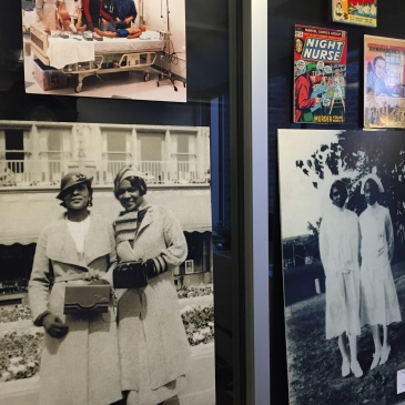 photographs of African American nurses as part of an exhibit display