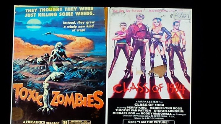 Toxic Zombies and Class of 1984 VHS case artwork