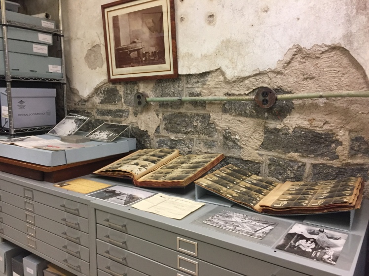 photo albums on display in the Eastern State archives