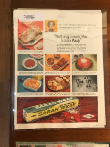 Page with Saran Wrap advertisement on it. Features images of food being wrapped in Saran Wrap.