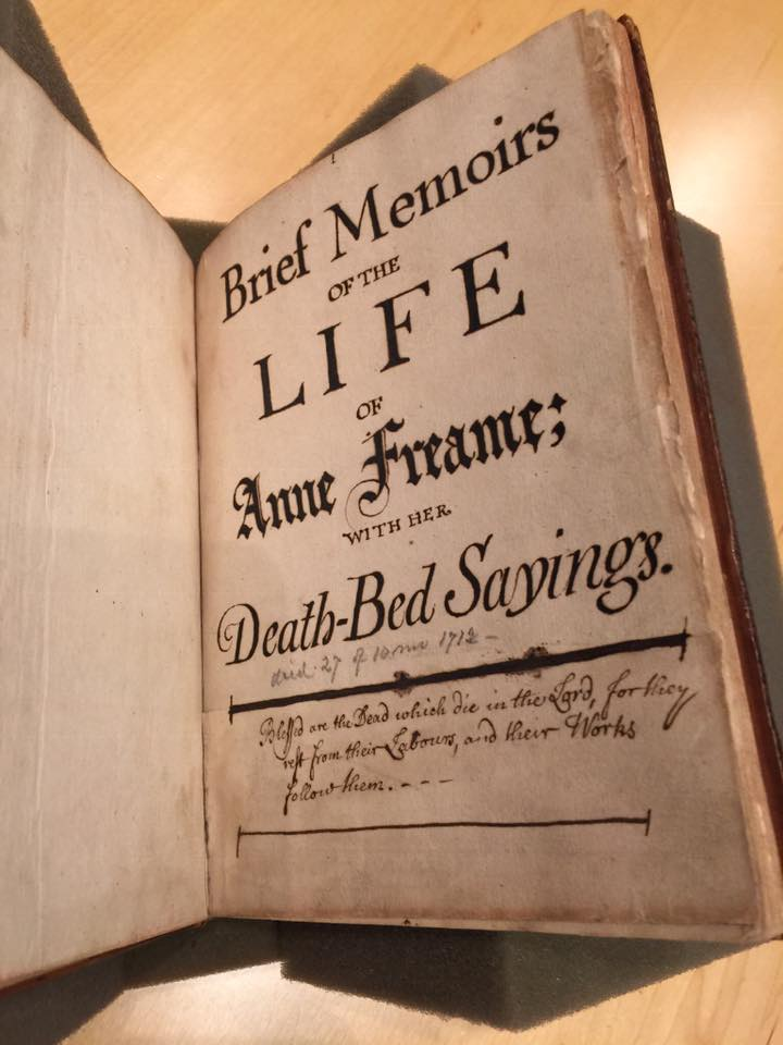 "Picture of open book entitled: ""Brief memoirs of the life of Anne Freame with her death bed sayings."""